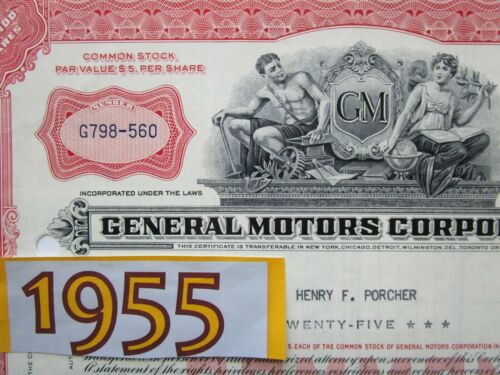 Classic 1955 GM GENERAL MOTORS Stock Certificate. Gift for Him. 1950s Red