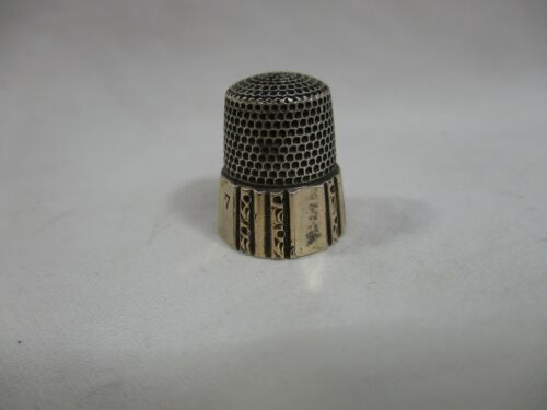 Antique Simons Bros. Gold Band Sterling Silver Thimble - Size 7 - No Monogram-ac