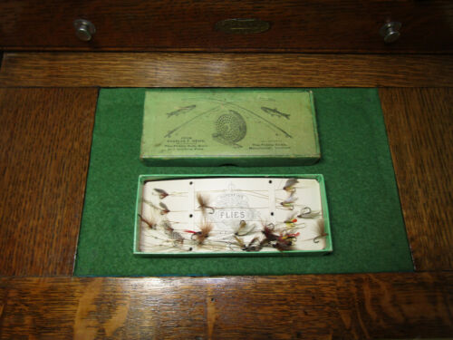 Rare Antique Charles F. Orvis Cardboard box for Superfine gut tied flies 1880