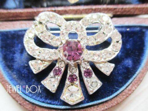 VINTAGE 1950s ART DECO Diamond Amethyst Paste Rhinestone Bow BROOCH Special Gift