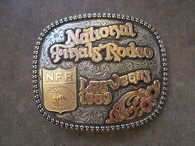 NIP 1987 National Finals Rodeo Belt Buckle ~ Hesston ~ Youth ~ Sealed ~ Mint