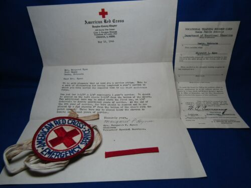 WWII American Red Cross Emergency Service Patch, Arm Band & 1944 Letter Lot Of 4