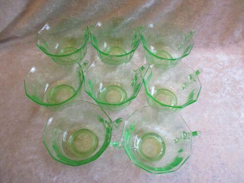 Set of 7 Cambridge Glass Green Depression Vaseline Glass Decagon Cups & Sugar