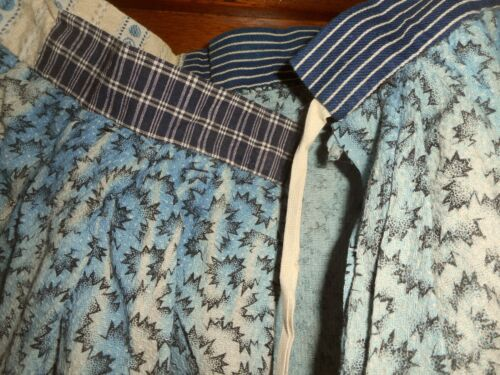 Rare Antique French Indigo Calico Homespun Cotton Fabric Prairie Farm Skirt