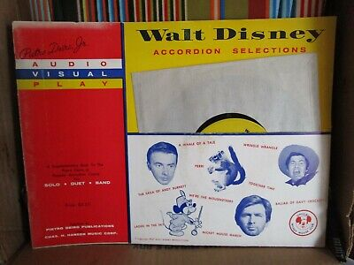 WALT DISNEY SELECTIONS FOR ACCORDION BOOK & RECORD SET BY DEIRO MUSIC BOOK NOS