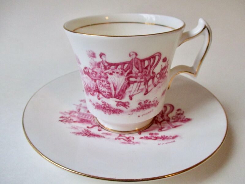 "PINK TOILE ""Tea Party"" Vintage Royal Chelsea English Bone China Teacup, Saucer"