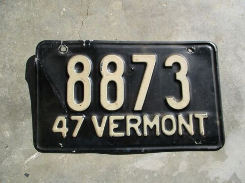 Vermont 1947 license plate  #   8873