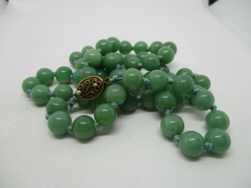 Vintage Chinese Green JADE Bead Necklace Export Sterling Silver Clasp 8.5mm 26""