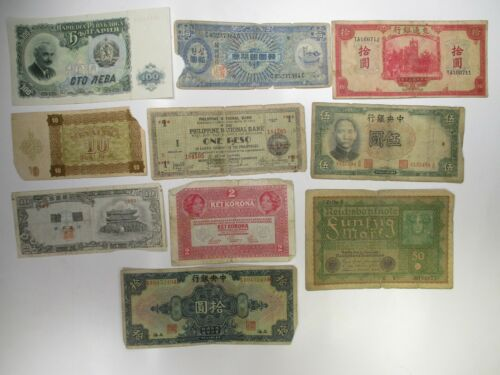 Mixed Lot of 10 Different Vintage Banknotes World Paper Money Foreign Currency