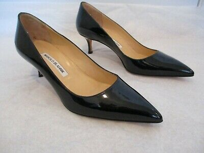 MANOLO BLAHNIK Black Patent Leather 2 1/4 Inch Pumps - Size 38