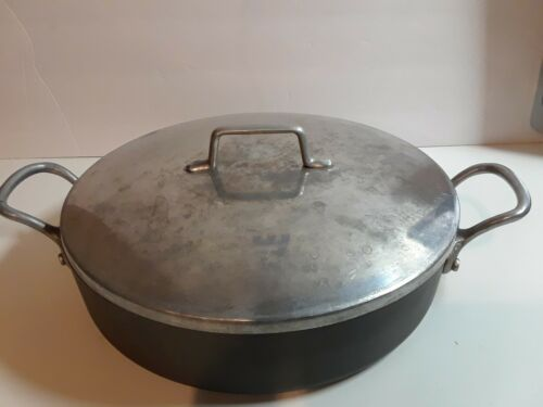 MAGNALITE GHC 12 Inch Skillet Fry Pan Casserole 2 Handles & Lid Made In USA