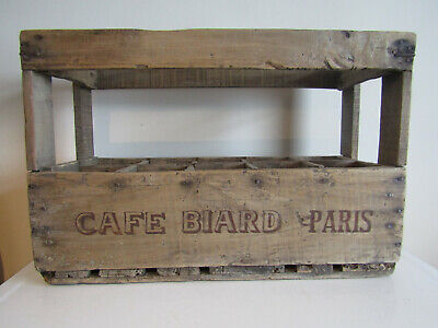 Antique French Champagne Crate Cafe Biard Paris 1938 Wooden Storage Box