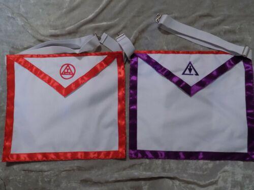 Dual Chapter Council York Rites Triple Tau Cloth Apron Masonic Purple Red NEW!