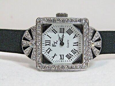 Fx Crystal And Black Enamel  Art Deco  Leather Watch By Franz Xavier