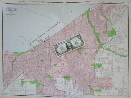 OH XL 1912 Dated CLEVELAND Wall Map Art Print Decor. Newburgh. Warrensville.
