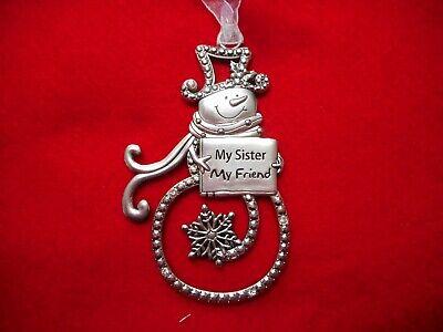 NEW Swirl Snowman Ornament w/Crystals,