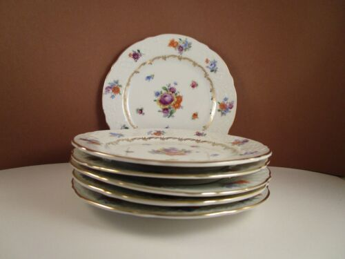 Vintage Schumann Bavaria Germany US Zone Bouquet Set of 6 Bread Plates B