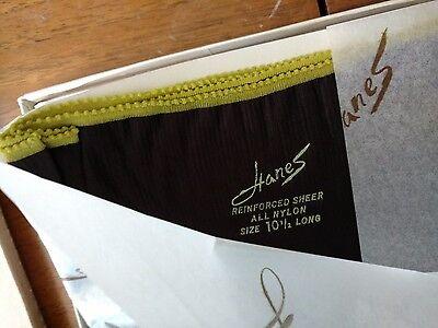 Hanes 3 Pair 415L 10-1/2 Barely Black Reinforced Sheer Stockings Vintage RHT