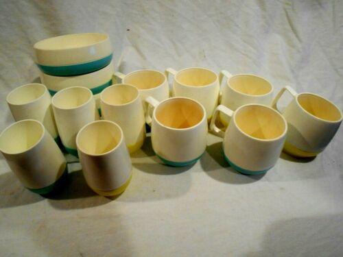 14-pcs Vacron  3-Bowls,5-Juice,6-Coffee Mid Century Modern Melmac