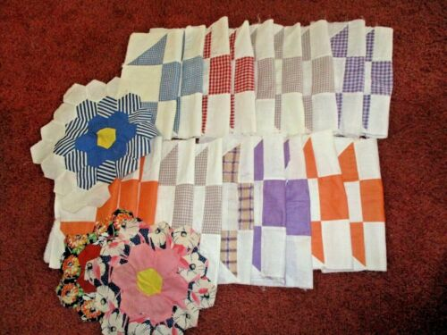 VINTAGE 22 HAND STITCHED FEEDSACK QUILT 13 PATCH SQUARE BLOCK PIECES