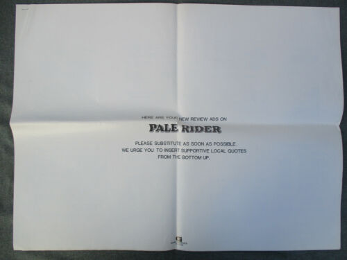 """VINTAGE 1985 PALE RIDER CLINT EASTWOOD WESTERN PRESSBOOK w """"NEW"""" REVIEW ADS"""