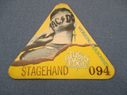AC/DC THE RAZORS EDGE WORKING PERSONNEL STAGEHAND SILK IDENTIFICATION BADGE