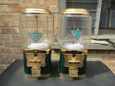 Vintage V-line Double Head Lot 25 Gumball Candy Prize Vending Machine Green A