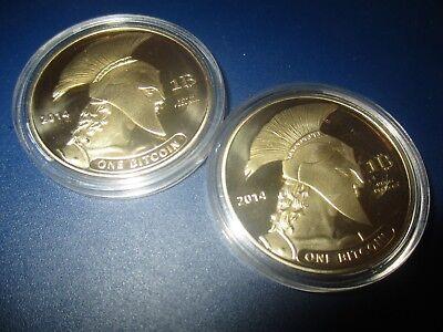 2  Stück  Sammler  Münze / Medaille  Handel  Motiv  BTC Titan Coin Gold Optik XP ()