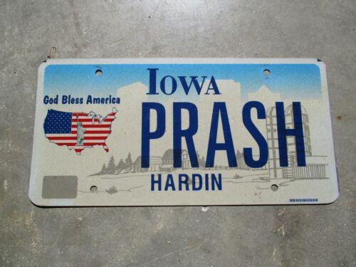 Iowa God Bless America license plate #  PRASH