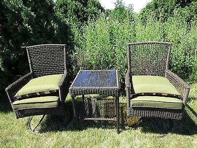 3 Piece Island Set Table (Bali Island Patio Woven 3 Piece Coffee Table Swivel Rocker Set Outdoor Furniture )