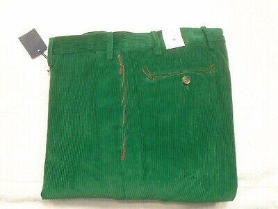 J McLaughlin Concord 8 Wale Corduroy Pants NWT 34 unhemmed $185 Emerald Green 8 Wale Corduroy