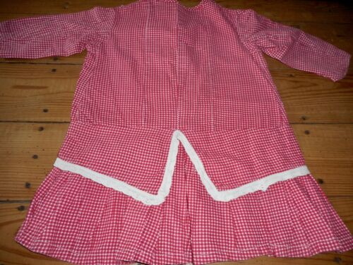 Antique 19thc Child Girls Dress ~ Red Check ~Country Primitive Clothing