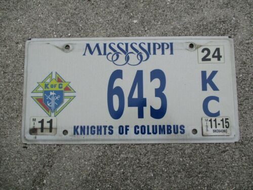 Mississippi 2015 Nights of Columbus license plate  #   643