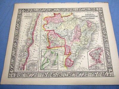 1865 Colored Map - BRAZIL, BOLIVIA, PARAGUAY, URUGUAY, CHILI