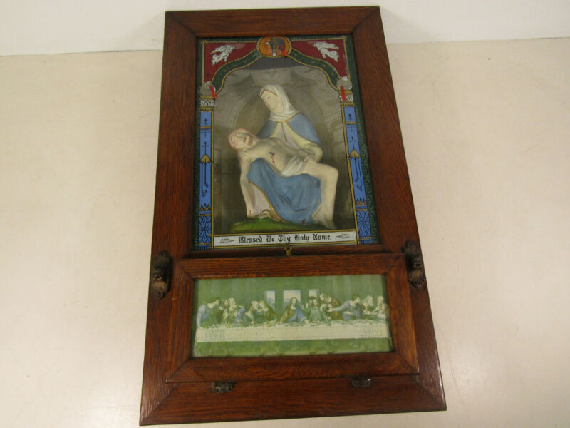Vintage Catholic Last Rites Shadow Box Pieta Jesus and Virgin Mary