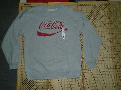 MENS LARGE GRAY/RED COCA-COLA LS SWEATSHIRT - NWT