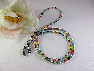 "OVER THE RAINBOW Petite 25"" Swarovski Crystal Beaded Eyeglass Chain Made USA"