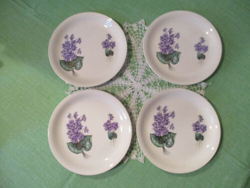 "Lot of 4 Vintage Home Laughlin ""Debutante"" 9"" Plates w/ Violets"