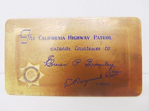 Rare Brass Police Courtesy Card 1930