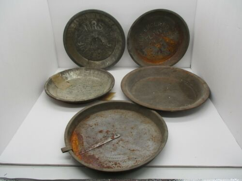Crusty Rusty Old Metal Pie Tins Plates New England Bake King Mrs Wagners Etc