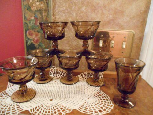 6 VINTAGE FOSTORIA JAMESTOWN AMBER BROWN DESSERT CHAMPAGNE SHERBET GLASSES PLUS