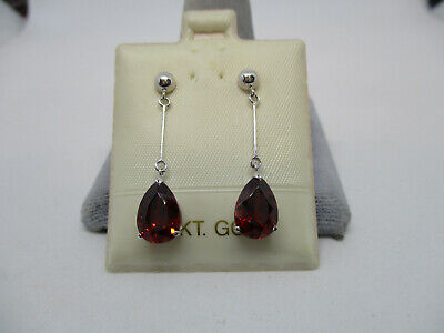 14K White Gold 3.50CT Pear Shaped Garnet  Dangling Earrings -