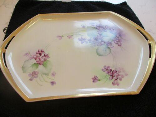 Vanity beautiful dish with handles/Purple violets/Austria/gold trim