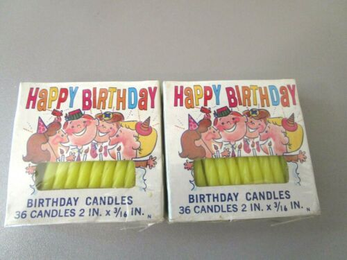2-Vintage New SEALED Box Columbia Yellow Birthday Candles 36 Count Mid Century