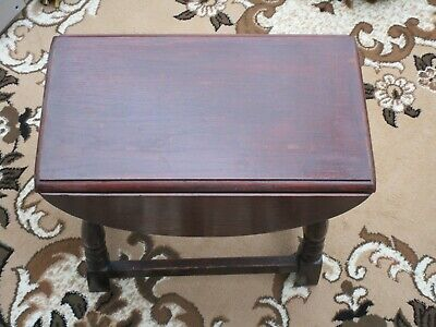 VINTAGE ANTIQUE MAHOGANY WOOD DROP LEAF COFFEE SIDE TABLE COLLECT SWINDON