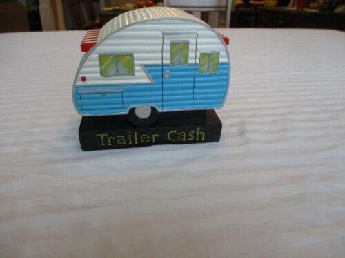 Vintage Trailer Cash Hand Painted Ceramic Camper Bank