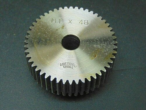MOD 1 X 48 TOOTH, STEEL, METRIC SPUR GEAR, TYPE B W/ HUB