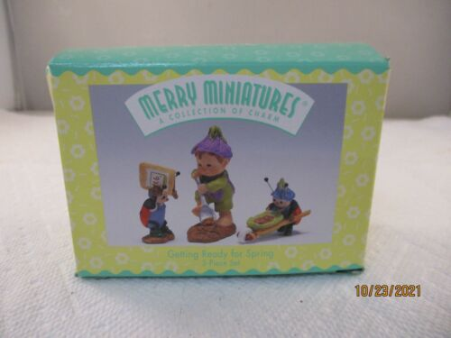 1996 GETTING READY FOR SPRING MERRY MINIATURES 3 PIECE SET