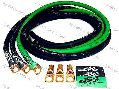 Sky High Oversized 4 Gauge Awg Big 3 Upgrade Green Black Electrical Wiring Kit
