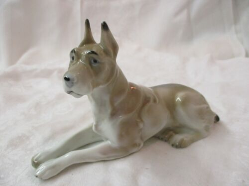 Vintage Germany porcelain Figurine fawn color Great Dane